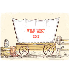 Wild west wagon cowboy background vector