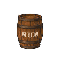 Wooden rum barrel isolated vector