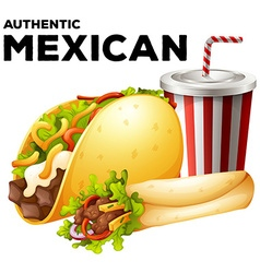 Mexican food with taco and burrito vector