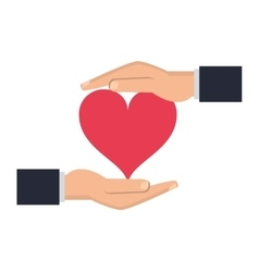 Shelter hand with cartoon heart icon vector