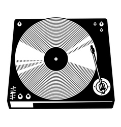 Retro turntable silhouette vector