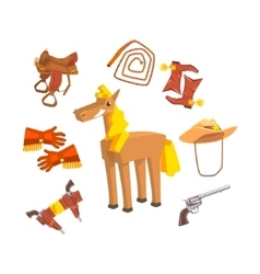 Horse surrounded with cowboy disguise related vector