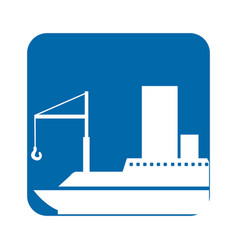 Square blue button with silhouette cargo ship vector