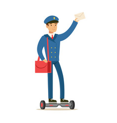 Postman in blue uniform on gyro scooter delivering vector