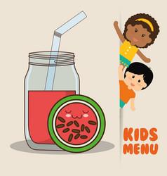 Kids menu children watermelon juice diet vector