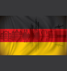Flag of germany with frankfurt skyline vector