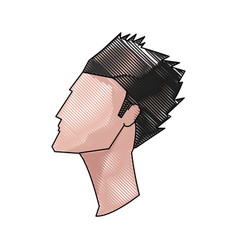 drawing profile head young man hairstyle vector image