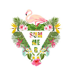 Tropical flamingo bird and flowers background vector
