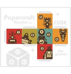 Paper cube with monsters for table games vector image