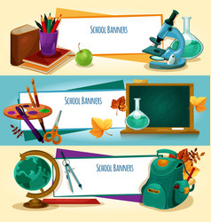 School supplies and stationery banners templates vector