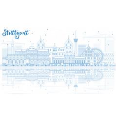 Outline stuttgart skyline with blue buildings and vector