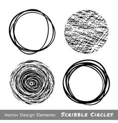 Set of hand drawn scribble circles vector