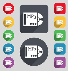 Mp3 player icon sign a set of 12 colored buttons vector