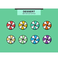 Set of 8 isolated multi-colored candies in flat vector image
