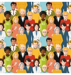 Crowd of people seamless pattern vector