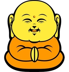 Cartoon character happy buddhist smile vector