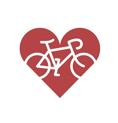 Bicycle in heart flat icon vector