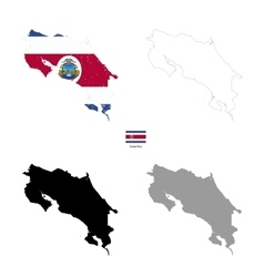 Costa rica country black silhouette and with flag vector