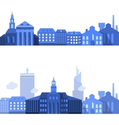 European landscape lines with flat city elements vector