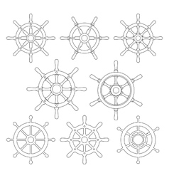 Ship helm thin line icons set vector