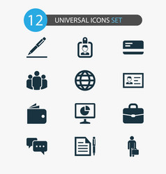 business icons set collection of statistics pen vector image vector image