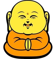 Cartoon character happy buddhist smile vector