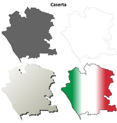 Caserta blank detailed outline map set vector