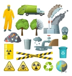 Environmental pollution elements set vector