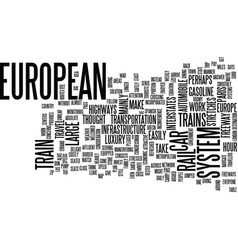 European trains text background word cloud concept vector