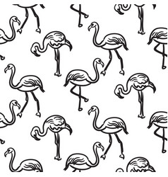 Flamingo black outline sketch seamless vector