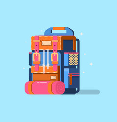 Flat modern hiking backpack mountain vector