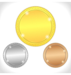 Golden silver and bronze medals vector image vector image