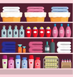 Goods on supermarket shelves vector