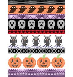 Halloween pattern with owlskull heart pumpkin vector