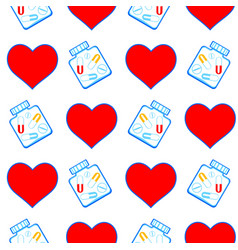 Heart and tablets pattern vector