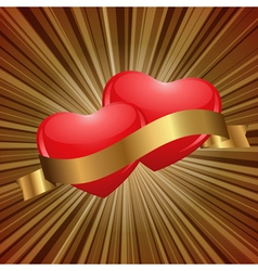 hearts in gold vector image