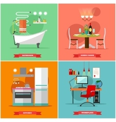 Home interior in flat style vector image vector image