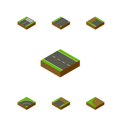 Isometric way set of turning footer down and vector