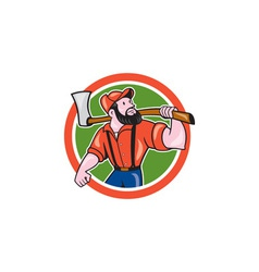 Lumberjack holding axe circle cartoon vector