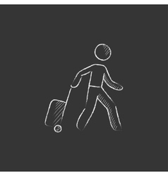 Man with suitcase drawn in chalk icon vector