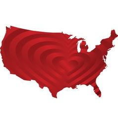 map usa with heart inside vector image vector image