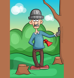 Mustached lumberjack chopping wood vector