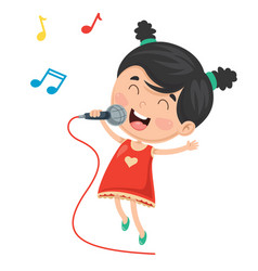 of kid singing vector image vector image