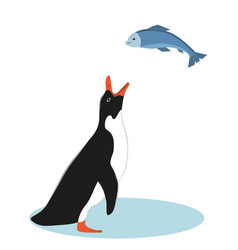 Penguin and fish vector