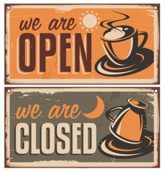 Retro door signs for coffee shop or cafe bar vector image