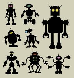 Robot silhouettes vector