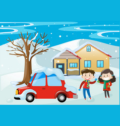 Scene with kids and car covered with snow vector