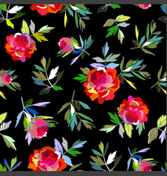 seamless abstract floral pattern red on black for vector image