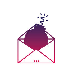Silhouette e-mail message information with bomb vector