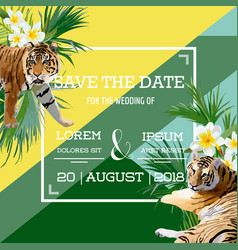 Tropical flowers and tiger summer wedding card vector